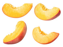 Isolated Peaches. Collection Of Peach Slices, Pieces Isolated On White Background With Clipping Path