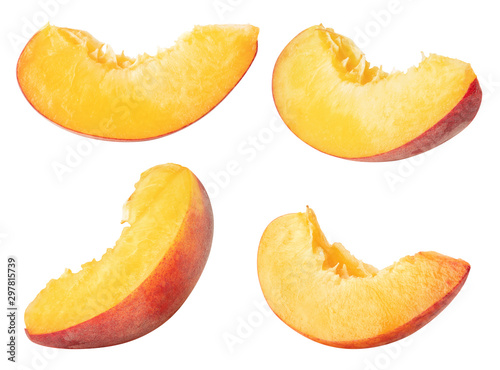 Isolated peaches. Collection of peach slices, pieces isolated on white background with clipping path - 297815739
