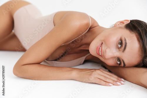 Obraz na płótnie Portrait of a beautiful sensual young brunette woman