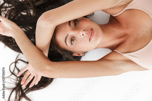 Obraz Portrait of a beautiful sensual young brunette woman - fototapety do salonu