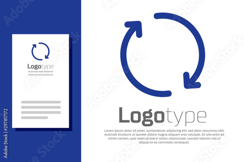 Blue Refresh icon isolated on white background. Reload symbol. Rotation arrows in a circle sign. Logo design template element. Vector Illustration