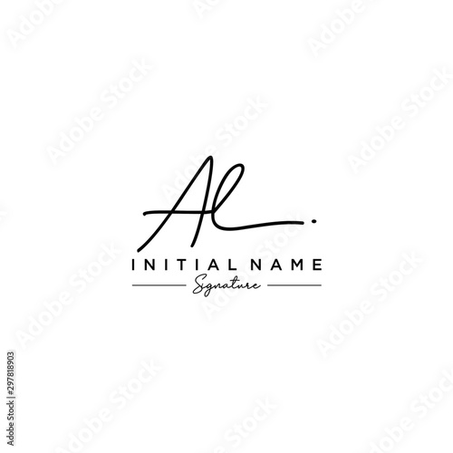Photo Letter AL Signature Logo Template Vector