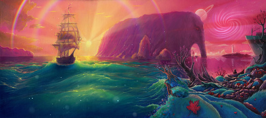 Fantasy Oil painting sunset sea landscape with ship, sun light beams and planets, seascape by oil on canvas, hand drawn illustration with watercolor colors