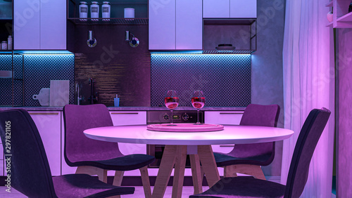 Fotografía  Modern Kitchen with colored lights