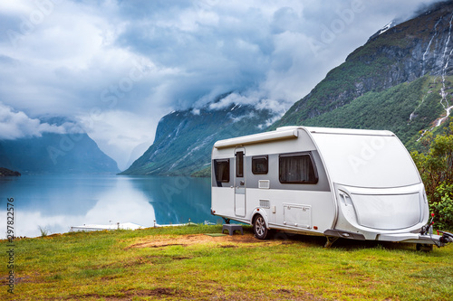 Family vacation travel RV, holiday trip in motorhome Fotobehang
