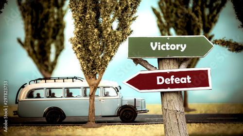 Stampa su Tela  Street Sign Victory versus Defeat