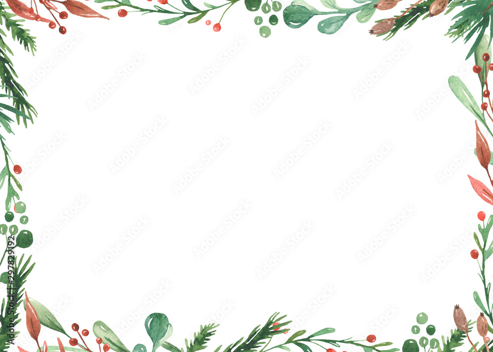 Fototapety, obrazy: Watercolor Christmas frame with spruce branches, leaves, berries