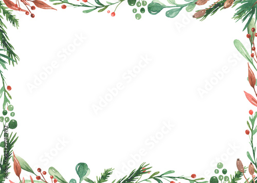 Watercolor Christmas frame with spruce branches, leaves, berries