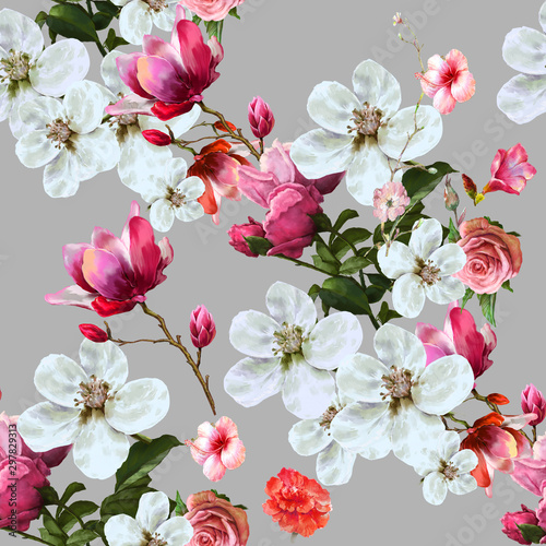 akwarela-lisc-i-kwiaty-bezszwowy-wzor-na-szarym-tle