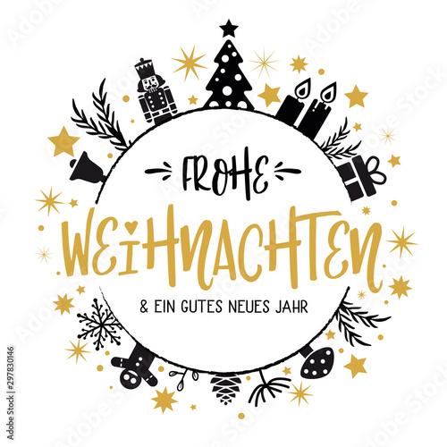 Fotomural  Frohe Weihnachten und ein gutes neues Jahr Kalligraphie - runde Form