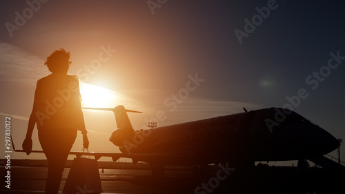 Aircraft on airstrip preparing to flight in airfield at airport Canvas Print