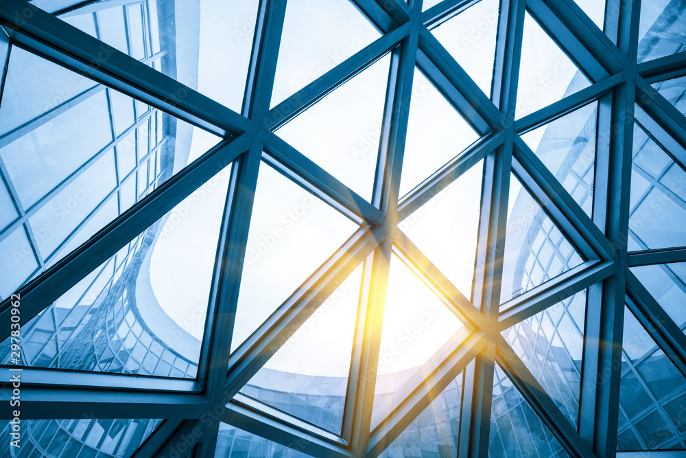 Fototapeta Mesh metal frame skylight in exhibition hall