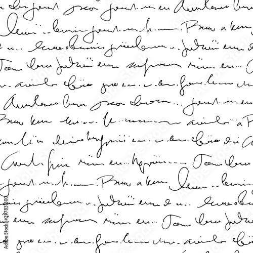 Fotografía  Handwritten abstract text seamless pattern, vector monochrome script background