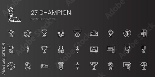 Obraz na plátne champion icons set
