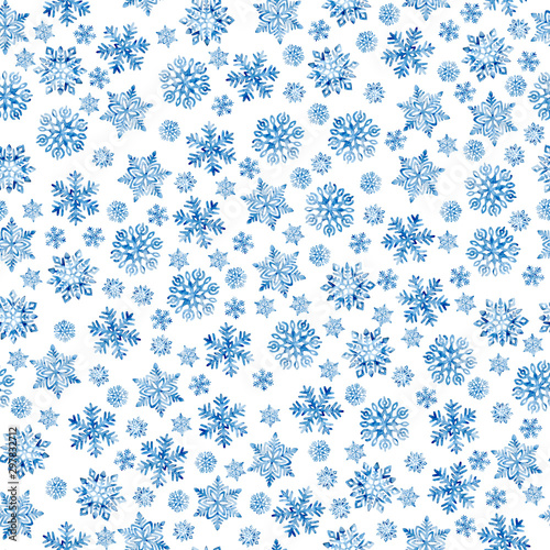 Fototapeten Künstlich Seamless New Year and Christmas pattern. Blue watercolor snowflakes on a white background. Print for wrapping paper. Hand-drawn winter watercolor background. Snow and blizzard print.