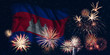 Fireworks and flag of Cambodia