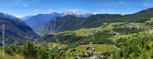 Landscape of Torgnon town in Aosta valley, Italy Wallpaper Mural