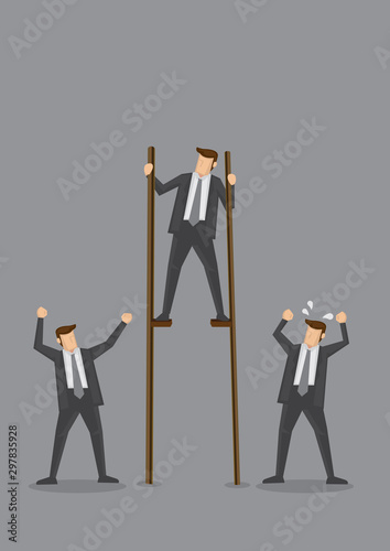 Businessman on Stilts Conceptual Vector Illustration Tablou Canvas