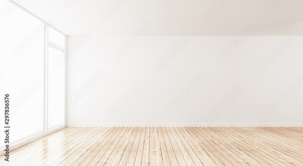Fototapety, obrazy: Classic wall interior and modern frame with parquet, empty room, 3d rendering