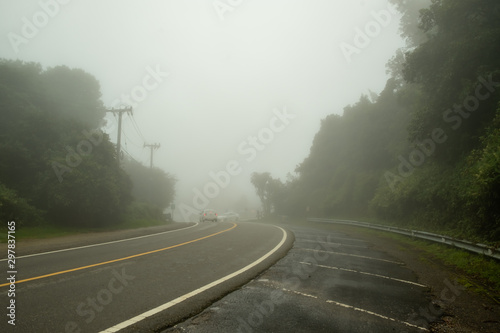 Foto op Aluminium Khaki A mountain road covered by fog causing limited visibility