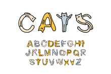 Cats Hand Drawn Vector Font Type In Cartoon Comic Style With Domestic Animals