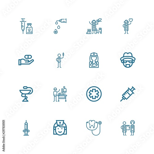 Editable 16 nurse icons for web and mobile Canvas Print