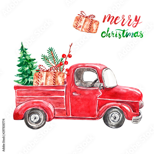 Photo sur Toile Cartoon voitures Christmas retro abstract car with fir tree, goft box, greenery branches, isolated on white background. Hand painted watercolor red pick up car for winter holiday cards design.
