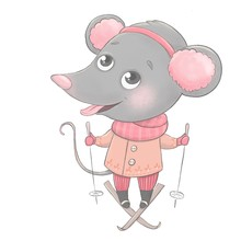 A Cute Little Mouse With Furry Headphones On His Head Is Skiing