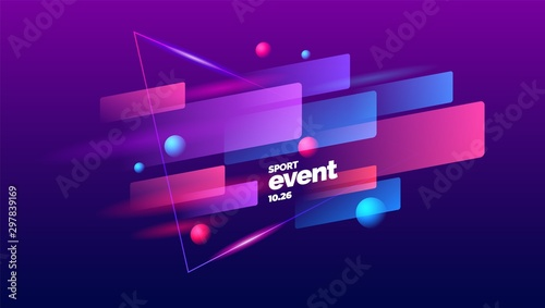 Fotografia Layout design with dynamic shapes for sport event, tournament or championship