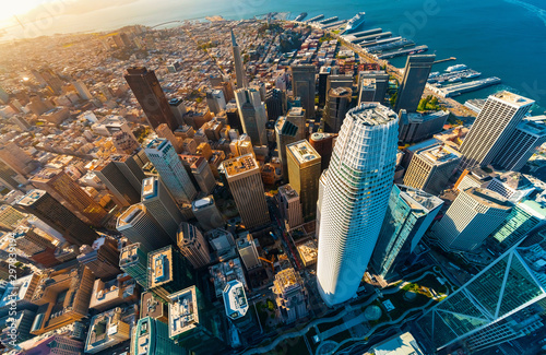 Downtown San Francisco aerial view of skyscrapers Canvas Print