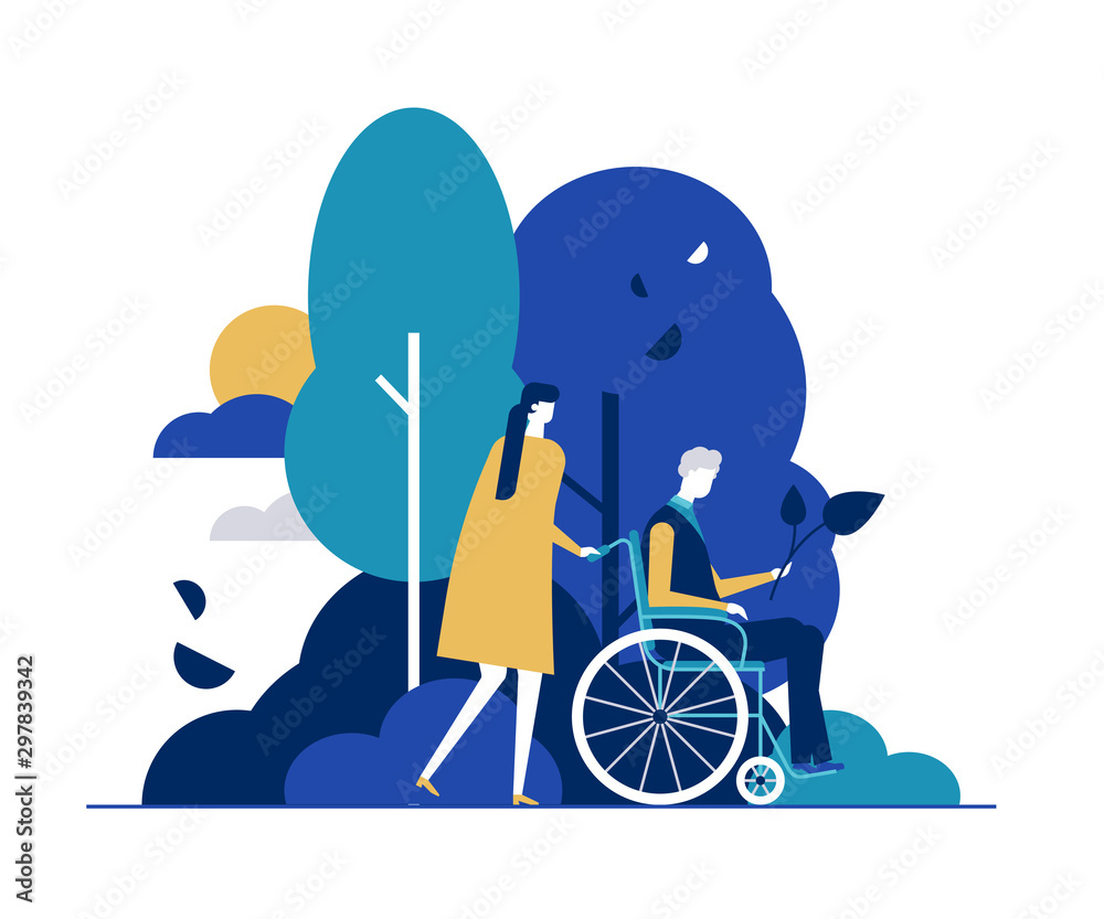 Fototapety, obrazy: Young woman with disabled man in park flat vector illustration