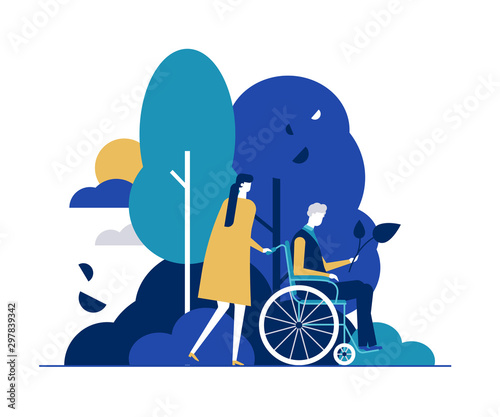 Fényképezés  Young woman with disabled man in park flat vector illustration