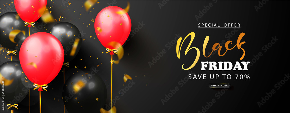 Fototapety, obrazy: Black friday sale background with black and red balloons and flying golden serpentine. Modern design.Universal vector background for poster, banners, flyers, card