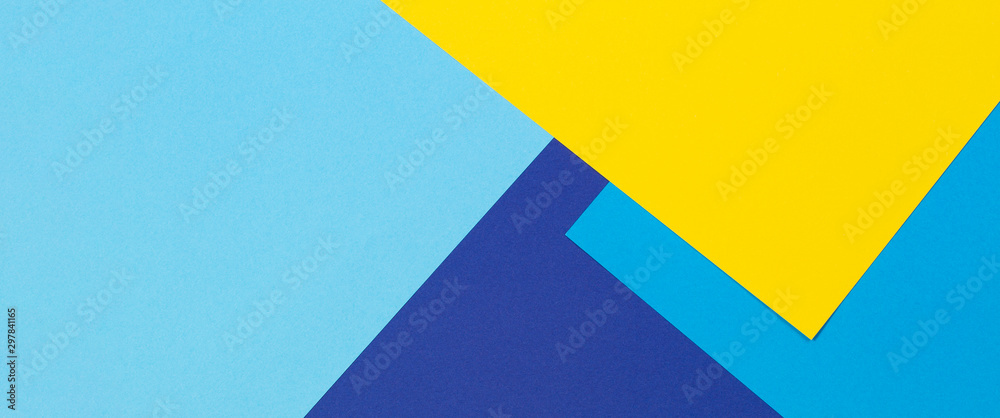 Fototapety, obrazy: Abstract blue and yellow color paper geometry composition background