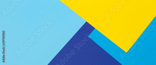Fotografija Abstract blue and yellow color paper geometry composition background