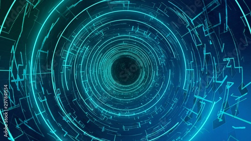 Photo Computer digital tube with matrix machine symbols, fly through future corridor