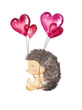 Cute Hedgehog Swings With Hear...