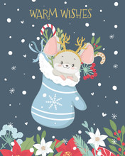 Christmas And New Year Greeting Card With Cute Little Mouse