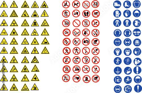 Fotomural ISO 7010 CARTELLI SEGNALETICA NORME CANTIERI LAVORI