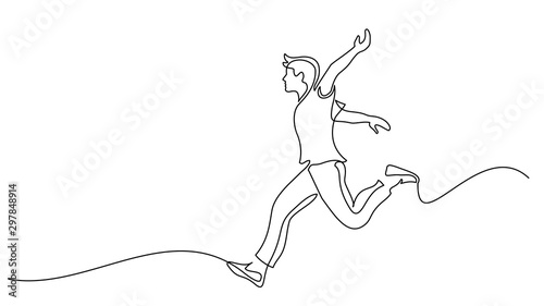 Obraz Happy running man. Continuous one line drawing - fototapety do salonu