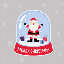 A Snow Ball Globe Has A Santa Clause And Christmas Gives Inside