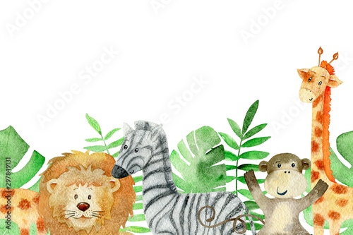 Watercolor safari animals. Canvas Print