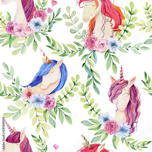 Tapety do pokoju dziewczynki  watercolor-cute-unicorns