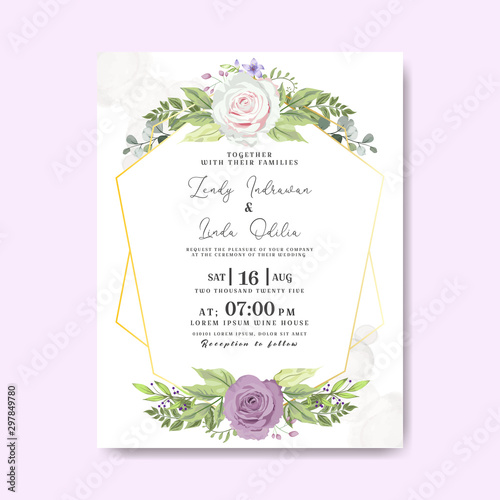Szkło Hartowane Wedding Invitation Floral Invite Save The