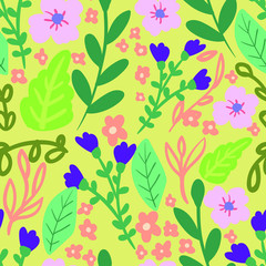 Seamless vector pattern with hand drawn flowers and leaves on beige background. Spring bouquet illustration.  Good for printing. Wallpaper, fabric and textile idea. Wrapping paper design.