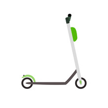 Lime Electric Scooter With A White Frame And Black Running Board And Wheels. Kick Scooter On A White Background In Isolation. Vector Illustration