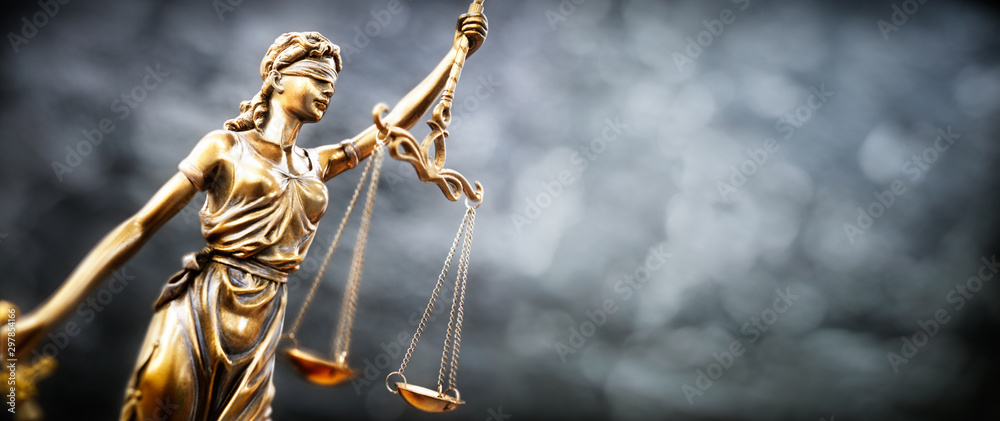 Fototapeta Legal and law concept statue of Lady Justice with scales of justice