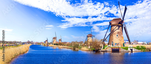 Travel in Netherlands . traditional Holland - Windmills in Kinderdijk