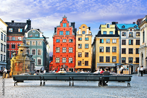 Old town of Stockholm - popular touristic attraction. Sweden Wallpaper Mural