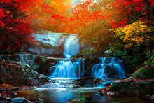 Autumn Leaves And Waterfalls A...
